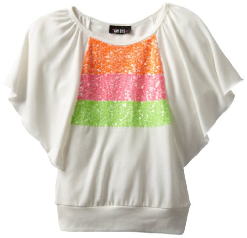 Amy Byer girls 7-16 butterfly sequin-trim top, white, small