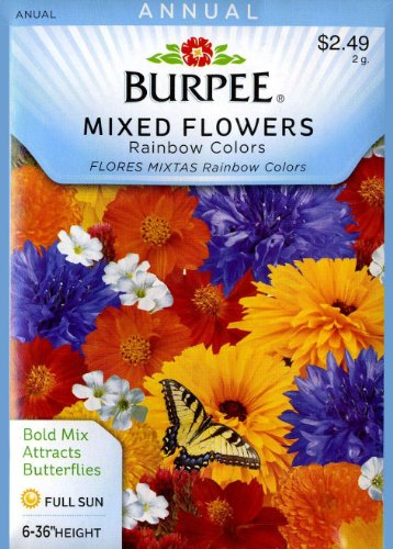 Burpee Mixed Flowers Rainbow Colors Seed Packet